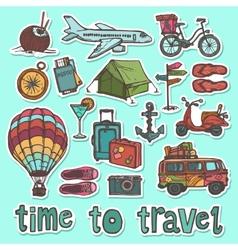 Travel sketch stickers set vector image