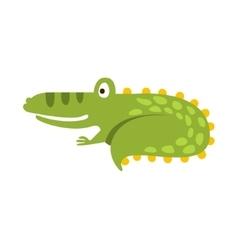 Crocodile Curling Up Like Cat Flat Cartoon Green vector image vector image