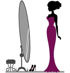 Girl near mirror vector image