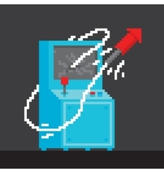Pixel art style arcade game cabinet with firework vector image vector image
