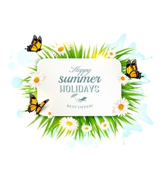 Square happy summer holidays banner with grass vector