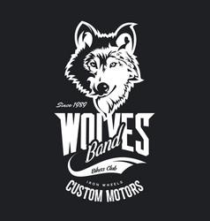 Vintage wolf custom motors club t-shirt vector