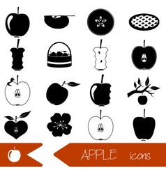 apple theme black simple icons set eps10 vector image vector image