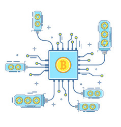 bitcoin concept in flat linear vector image