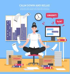 businesswoman doing meditation flat vector image