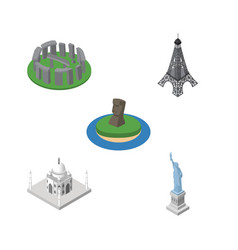 Isometric architecture set of chile india mosque vector