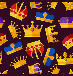luxury crowns set seamless pattern isolate vector image vector image