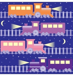 Seamless pattern with night trains vector image