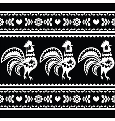 Seamless polish monochrome folk art pattern with r vector