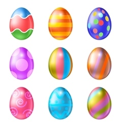 Set of colored Easter eggs on a white background vector image