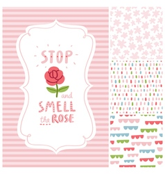 Stop and smell the rose decorations set vector image vector image