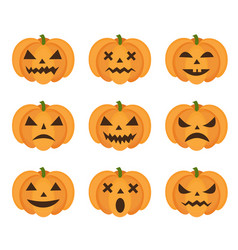 halloween pumpkin icon set with emoji scary vector image