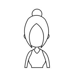 Outline girl avatar profile image vector