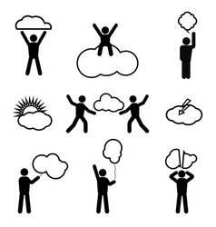 stick figure and clouds vector image