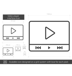 Video player interface line icon vector image