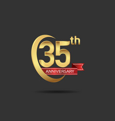 35 years anniversary logo style with swoosh ring vector