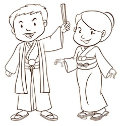 A plain sketch of two Asian people vector