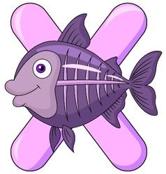 Alphabet X with X ray fish vector image