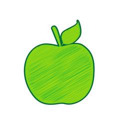 apple sign lemon scribble vector image vector image
