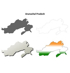 Arunachal Pradesh blank outline map set vector image
