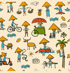 Asian lifestyle people seamless pattern for your vector