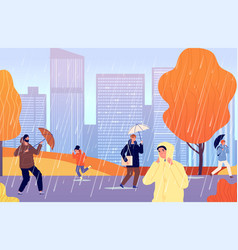 autumn people on rain person with umbrella girl vector image