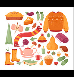 autumn set for thanksgiving day vector image