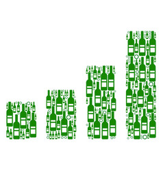 bar chart mosaic of wine bottles vector image