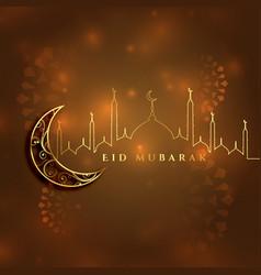 Beautiful eid mubarak islamic festival card design vector