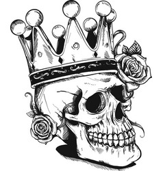 Beautiful romantic skull with crown and elegant vector