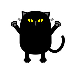 black cat yellow eyes ready for a hugging open vector image