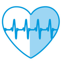 Blue shading silhouette of heart with signs of vector