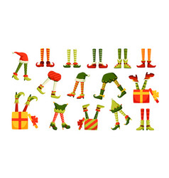 Bundle legs christmas elves sticking out of vector
