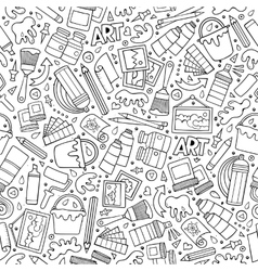 Cartoon cute hand drawn Artist seamless pattern vector image