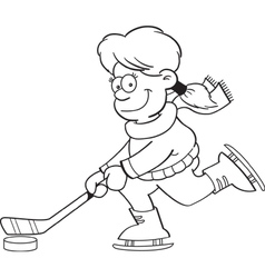 Cartoon girl playing hockey vector