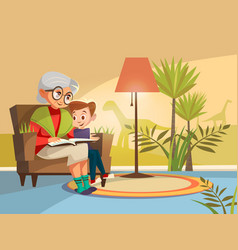 Cartoon grandmother reading to boy vector