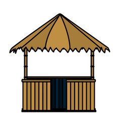 Color straw hut nature architecture style vector