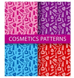 cosmetics seamless patterns vector image