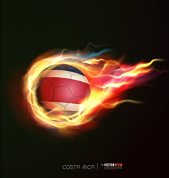 Costarica flag with flying soccer ball on fire vector
