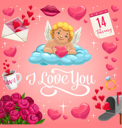 Cupid with heart on cloud valentines day card vector