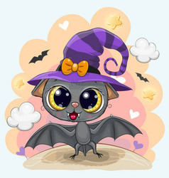 Cute bat in a halloween hat vector