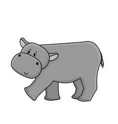 cute cartoon gray hippo goes to somewhere vector image