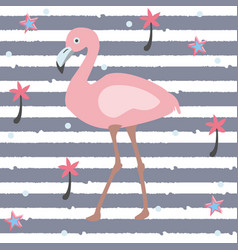 Cute pink flamingo with palms and stars on a blue vector