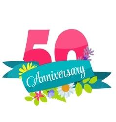 Cute Template 50 Years Anniversary Sign vector image