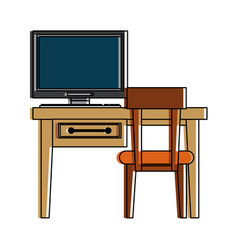desk computer chair furniture icon image vector image