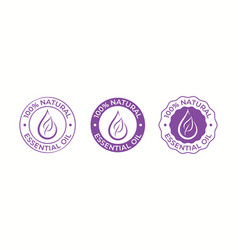 Essential oil drop and leaf icon for beauty and vector