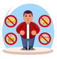 fat man diet character health refusal junk food vector image