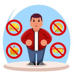 Fat man diet character health refusal junk food vector