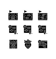 Fish product farming and storing black glyph vector