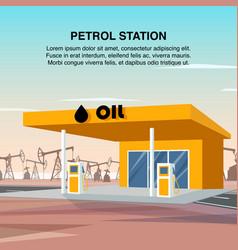flat banner yellow petrol car station vector image